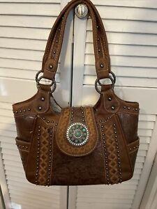 Montana West TRINITY RANCH Brown Tooled Purse Handbag Nice