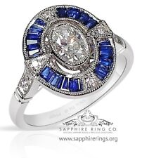 Antique Platinum 1.36 tcw Oval Cut Diamond & Sapphire Ring - VS-1 - New Custom