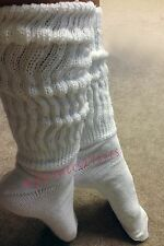 PEAVEY SLOUCH SOCKS Hooters School Girl Halloween Costume X-LONG LENGTH WHITE