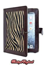iPAD 2 3 & 4 BROWN& ZEBRA PRINT FUR Luxury Real Genuine Leather Cover Case Stand