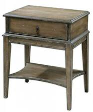 Cottage WEATHERED PINE Accent Table Drawer Rustic Antique Bedside Side End Wood