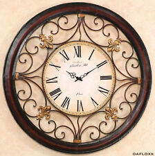 XXL Reloj de pared en Brown Modelo PARIS 92cm Hierro Francia ROM antigua Barroco