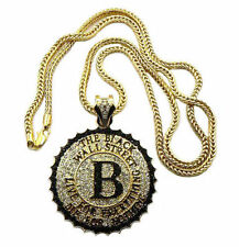 """ICED OUT THE WALL STREET PENDANT &4mm/36"""" FRANCO CHAIN HIP HOP NECKLACE - MP512"""