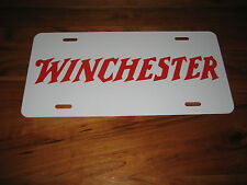 Winchester License Plate - White/Red