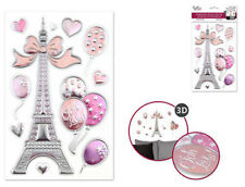 Foil Shimmer Embossed EIFFEL TOWER 11 wall stickers 3-D decals Paris hearts