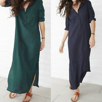 Womens Ladies Long Sleeve V-Neck Baggy Cotton Linen Splits Maxi Dress Plus Size