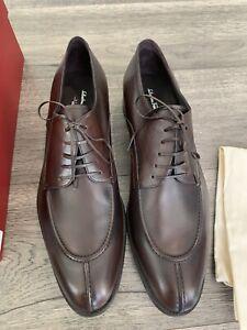New $600 Salvatore Ferragamo Gustav Brown Leather Split Toe Oxfords  -  Size 13D