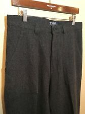 Polo Ralph Lauren Mens 100% Wool Flannel Gray Pants Trousers EUC 33x32