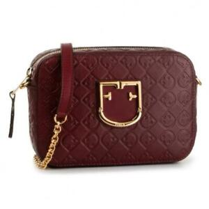 NWT $378 FURLA BRAVA QUILTED LOGO LEATHER CROSSBODY CAMERA CHAIN BAG RIBES RED