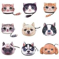 1pcs Animal Cute Cat Dog Face Zipper Case Coin Women Purse Wallet Bag Pouch D