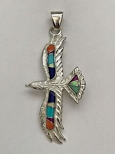Sterling Silver Handmade Inlay Different Stone Flying Eagle Pendant