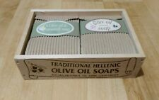Traditional Hellenic Olive Oil Soaps in a nice wooden box. From Greece
