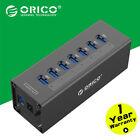 ORICO Black Aluminum 7 Port Super Speed USB 3.0 Hub Power Adapter For PC Laptop