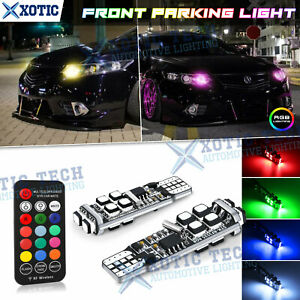 Multi-Color RGB T10 168 194 W5W LED Bulbs w/RF Remote Control For Parking Lights