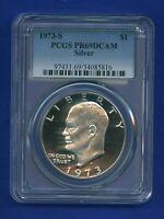 1973 S PCGS PR69 DCAM Eisenhower Dollar $1 Ike Silver 1973-S PCGS PR-69 DCAM