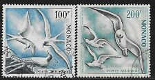 Monaco stamps 1957 YV Airmail 66-67  P.13  BIRDS  CANC  VF