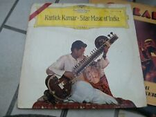 "LP 12"" SITAR MUSIC OF INDIA KARTICK KUMAR S.V. PATWARDHAN TABLA RAJARAM TAMBURA"