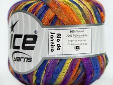Rio de Janeiro Ribbon Yarn #45756 Purples Orange Yellow Soft Wool, Nylon Ice 50g