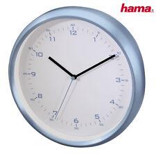 Hama DCF Funkuhr Wanduhr AG-260 geräuscharm analog Aluminium-Gehäuse Blau 26 cm