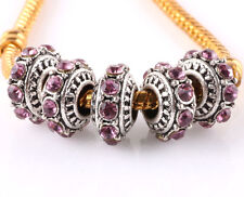 5pcs Tibetan silver CZ big hole spacer beads fit Charm European Bracelet B#505