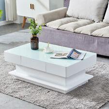 White High Gloss Rectangular Coffee Table Hidden Drawer Living Room Furniture US