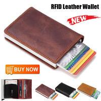 Leather Credit Card Holder Money cash Wallet Mens Clip RFID Blocking Purse