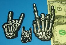 """MOTORCYCLE LEATHER JACKET PATCH   3 Skeleton Hand """" I LOVE YOU """" SEW On IRON On"""