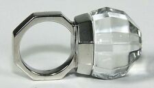 new BACCARAT FACETTES 55 size 7 STERLING RING 20 carat GLOBE crystal JEWELRY MIB