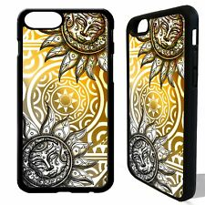 Sun and moon mayan aztec tribal pattern cover case for iphone 5 6 6S 7 8 plus X