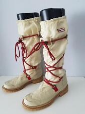 Hunter Amazonas Summit Waterproof Leather Textile Boots Size 7 Cream