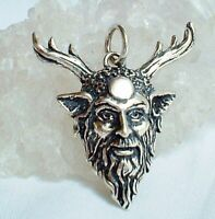Green Man Sterling Silver Pendant Horned God Cernunnos Full Moon Wicca Pagan