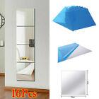 16-tlg Spiegelfliesen Wandspiegel Spiegelfolie Selbstklebend Aufkleber Folie Neu