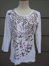 Chicos Zenergy Woman Knit Top Sz 0 35B White Gold Animal Print Shirt