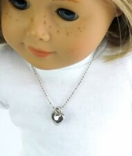 Silver Tone Heart Necklace Fits 18 inch American Girl Doll