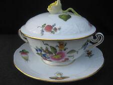 Herend porcelain Zuppa Ciotola DIPINTA A MANO, Stand & Coperchio. FIORI e frutti. BFR