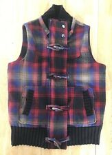 Jack BB Dakota Women's Vest Black Red Blue Plaid Medium
