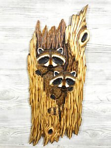 Hand Carved 2 RACCOON CUBS in HOLLOW Wall Art Chainsaw Realistic Wood Carving