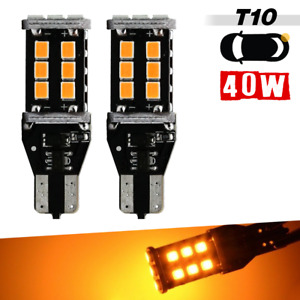 2x T10/921/194/168 Yellow LED for SideMarker Light indicator light Bulbs