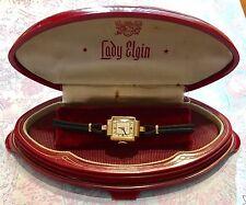 Vtg 1940's Lady Elgin 14kt Gold Wristwatch 19j Grade 619 w/ Bakelite Case-Estate