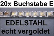 20x Lettre E Plaqué or Acier Inox S'Adapter pour Bracelet Nomination