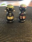 RARE Vintage Wooden African Tribal Salt and Pepper Shakers