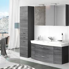 badezimmer mobel set 120cm waschtisch led spiegelschrank eiche grau hochschrank