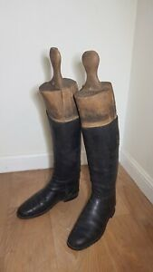 Vintage Pair of  Wooden Riding Boot Trees & Vintage Riding Boots