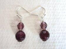 Facet Round Purple Agate Gemstone Beads & Czech Glass Bead Silver Tone Earrings