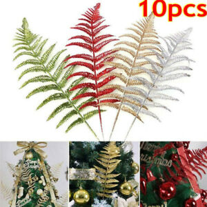 10X Glitter Leaf Stems Artificial Leaves Christmas Tree Home Wedding Party Decor