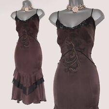 Karen Millen Chocolate Brown 100% Silk Floaty Frill Strappy Party Dress UK 12