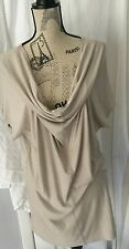 Long TUNIC Top by Adrienne VITTADINI Cascading Plunging Front Nude Beige Sz L