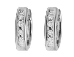 Unisex 10K White Gold Real Diamond 10MM Baby Huggie Hoop Earrings .05ct