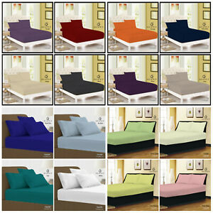 40CM EXTRA DEEP Fitted Sheet Single Double Super King Bed Size OR Pillow Covers