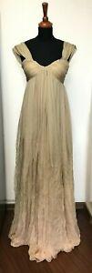 AUTH Alexander McQueen Nude Pink Long Degrade Dress Evening Silk Gown